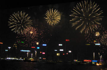 Fireworks over Victoria Harbour. Photo: Wikicommons.