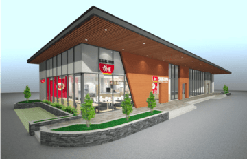 An artist's conception of the first roadside-style Sukiya beef rice bowl restaurant in Vietnam due to open in a commercial center in Binh Duong Province in late October (Image courtesy of Zensho Vietnam Co.)