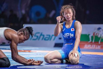 オリンピック2大会連続出場を決めた川井梨紗子=撮影・保高幸子