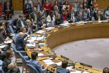シリア北西部イドリブ県の停戦について話し合う国連安全保障理事会の会合=19日、米ニューヨークの国連本部(国連提供・共同)