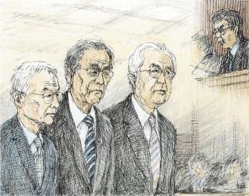 証言台の前に立ち判決を聞く(左から)勝俣元会長、武黒元副社長、武藤元副社長(イラストと構成・勝山展年)