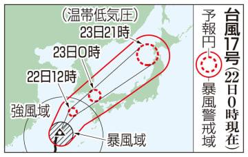 台風17号の予想進路(9月22日0時現在)