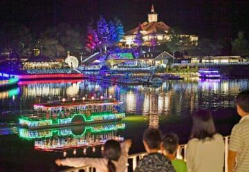 園内を幻想的に彩るイルミネーション=21日午後7時35分、那須町高久丙