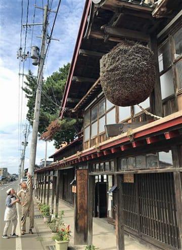新調されることになった旧佐藤酒造の大きな酒林(右上)=黒石市元町