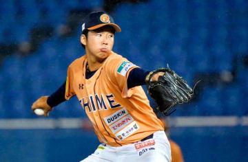 【愛媛MP―徳島】3回から登板し、5回2安打無失点と好投した愛媛MP・福田=坊っちゃんスタジアム