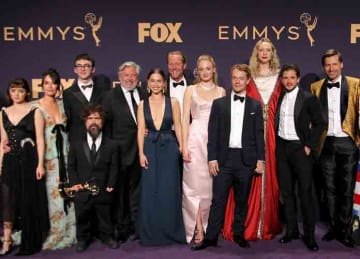 'Game of Thrones' cast pose in 71st Emmy Awards (2019) Press Room held at the Microsoft Theatre in Los Angeles, California. (Adriana M. Barraza/WENN.com)