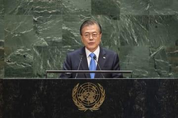 国連総会で演説する韓国の文在寅(ムン・ジェイン)大統領(UN Photo/Cia Pak)