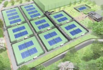清水善造メモリアルテニスコートの完成予想図