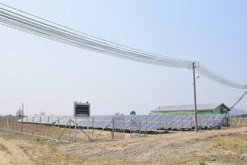 Micro solcar power grid developed by Kyocera Communication Systems Co. with a local partner in a township in Bago Region, central Myanmar. (Photo courtesy of Kyocera)