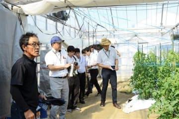 トマトのハウスに導入したシステムについて審査員に説明する松本吉充さん(左端)=25日、八代市