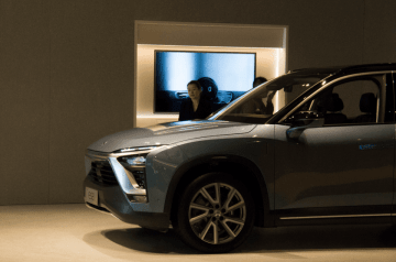 A Nio ES8 on display at a new Nio store in Shanghai on April 11, 2019. (Image credit: TechNode/Shi Jiayi)