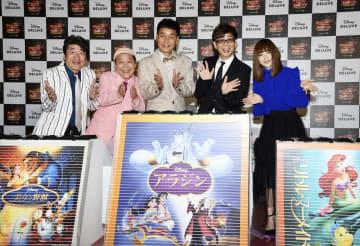 イベントに登場した(左から)寺門ジモン、上島竜兵、肥後克広、山寺宏一、神田沙也加=東京都内