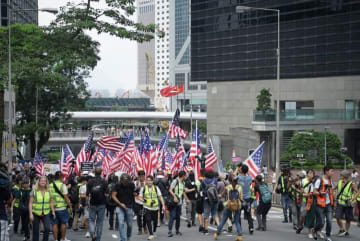 A march to the US Consulate in early September. Photo: inmediahk.net.