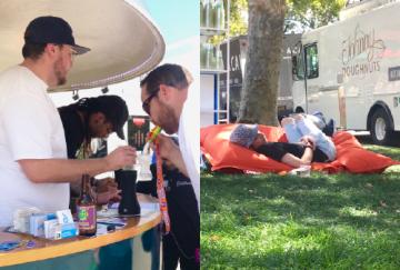 ●左写真:この男性は自分用のシリコンのタイダイのマウスピースを持参していました。 ●右写真:暖かい日差しが注ぐ中、お昼寝なんて最高! ©Weekly LALALA