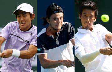 左から西岡良仁、ダニエル太郎、杉田祐一
