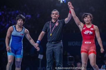 3年前に姉が破った北朝鮮選手に勝ち、オリンピック出場を決めた川井友香子=撮影・保高幸子