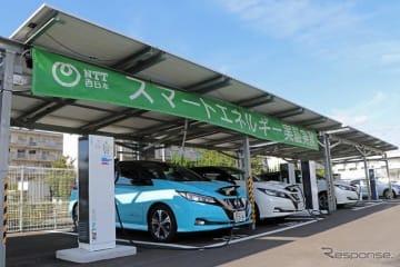 NTT西日本 山口支店におけるカーポートPVとV2Bの設置状況