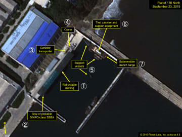 9月23日に撮影された北朝鮮・新浦の造船所の衛星写真。(1)覆い(2)潜水艦の船首(3)発射管の運搬車両(4)クレーン(5)小型船(6)試験用発射管(7)潜水式発射台(Planet Labs/38ノース提供・共同)