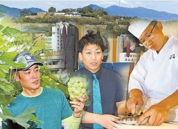作州の地で活躍する若手たちのコラージュ。奥は鶴山公園(津山城跡)と中国山地の山並み