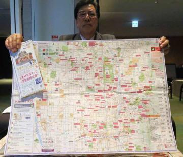 京都市内の博物館や避難広場などが示されたマップ(京都市下京区)