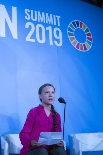 国連気候行動サミットで演説するトゥンベリさん(UN photo/Cia Pak)