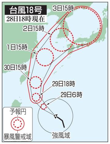 台風18号の5日先予想進路(28日18時現在)