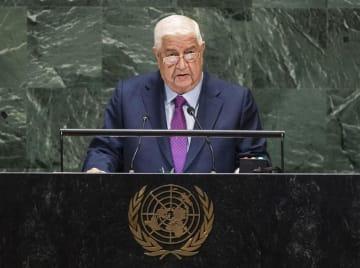 国連総会の一般討論で演説するシリアのムアレム外務・移民相=28日、米ニューヨーク(国連提供・共同)