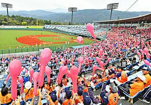 生まれ変わったあづま球場で野球観戦を楽しむファン=28日、福島市