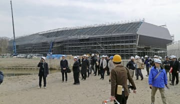 建設が進む国立アイヌ民族博物館=4月、北海道白老町