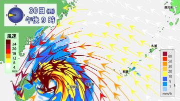 30日(月)午後9時の雨風の予想