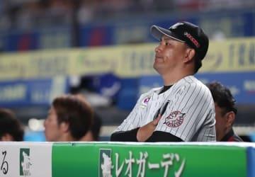 シーズン最終戦となった9月24日の西武戦でグラウンドを見つめる井口監督=ZOZOマリン