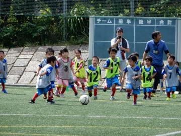 サッカーボールを追う子どもたち=横浜市青葉区