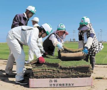 芝生を運び出す作業員