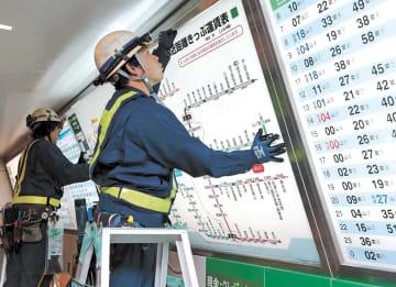 JR仙台駅では新しい運賃表に取り換える作業が行われた=1日午前0時20分ごろ