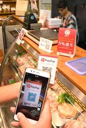 「ペイペイ」を導入している鶏肉販売店。ポイント還元にも対応している=神戸市兵庫区東山町2、マルシン市場