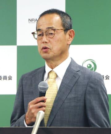 記者会見する原子力規制委員会の更田豊志委員長=2日午後、東京都港区