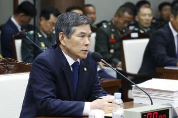 2日、ソウルの韓国国防省で北朝鮮のミサイル発射について説明する鄭景斗国防相(聯合=共同)