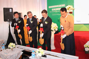 Hirosato Fukimbara (2nd from L), managing director of Nippon Steel Kowa Real Estate Co.'s Myanmar unit NSKRE Residence (Myanmar) Co., and others participate in a groundbreaking ceremony for a service apartment for Japanese expatriates in Yangon on Se