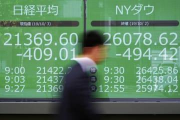 東京都内の株価ボード(AP=共同)