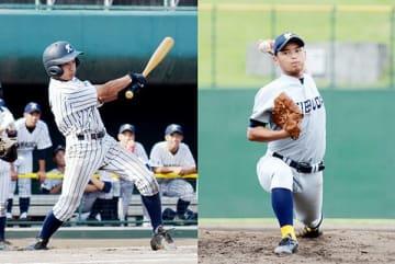 準々決勝で2打数2安打の川口市立・2番越智田(左)、2試合で完封した西武台・エース左腕増田