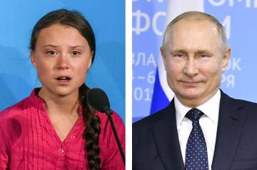 グレタ・トゥンベリさん(ゲッティ=共同)、ロシアのプーチン大統領
