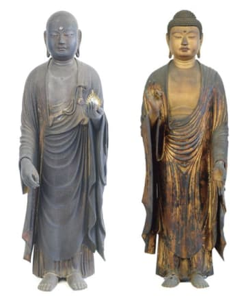 【快慶の作品と判明した阿弥陀如来立像(右)と地蔵菩薩立像】
