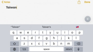 The Taiwan flag emoji can still be typed. Photo: HKFP.