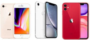 iPhone 8(左)、iPhone XR(中央)、iPhone 11(右)