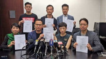 Democrats file a legal challenge against the mask ban. Photo: Holmes Chan/HKFP.