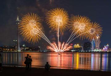 第30回マカオ国際花火コンテストの第6夜、週末のマカオの夜空を彩った日本チームの花火=2019年10月5日(写真:GCS)