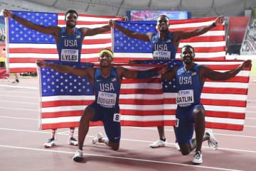 男子400リレー、米国が優勝 世界陸上