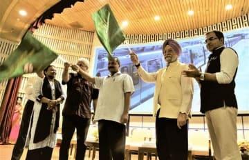 グレーラインの開業式典が行われた=4日、インド・首都ニューデリー(JICA提供)