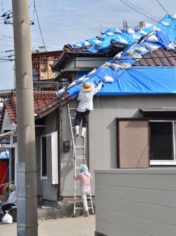 はしごを使い、屋根の補修を行う住民=9月22日、館山市