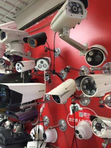 Surveillance cameras including Hikvision models for sale in a Beijing electronics market (Image credit: TechNode/Frank Hersey)